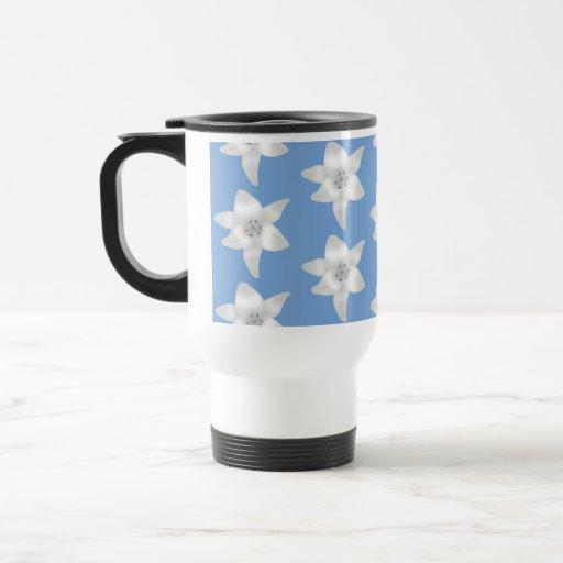Elegant Floral Design. White Lily Flowers on Blue. Mug