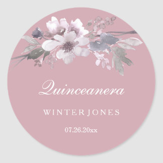 Elegant Floral Dusty Pink Quinceanera Stickers