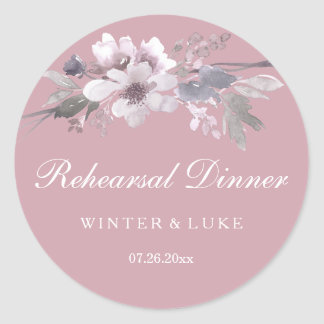 Elegant Floral Dusty Pink Wedding Rehearsal Dinner Round Sticker