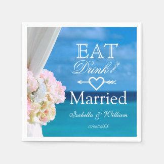 Elegant Floral Eat Drink Married Beach Wedding Disposable Serviette