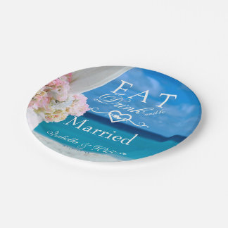 Elegant Floral Eat Drink Married Beach Wedding Paper Plate