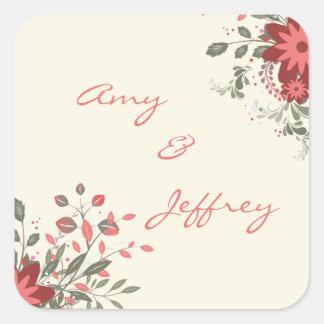 Elegant Floral Envelope Seal Square Sticker