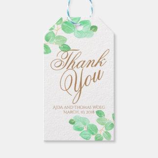 Elegant floral eucalyptus wedding thank you tag