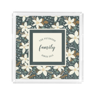 Elegant Floral Family Photo Acrylic Tray