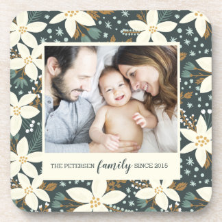 Elegant Floral Family Photo Coaster