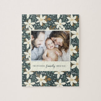 Elegant Floral Family Photo Puzzle