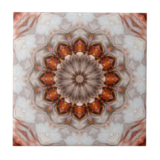 Elegant Floral Feather Rose Gold Geometric Tile