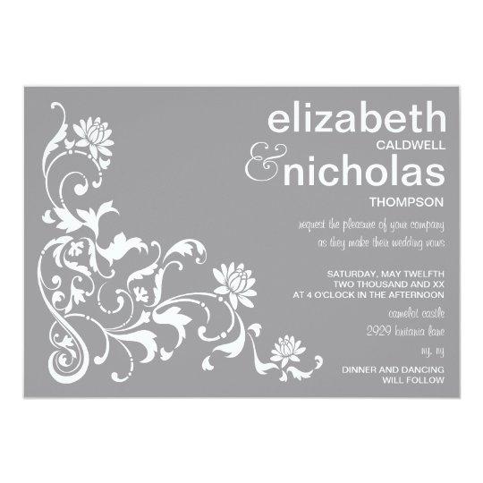 Elegant Floral Flourish Wedding Invitation-grey Card