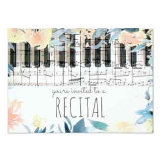 elegant floral girly music recital 11 cm x 16 cm invitation card