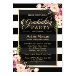 Elegant Floral Gold Black White Stripes Graduation 13 Cm X 18 Cm Invitation Card
