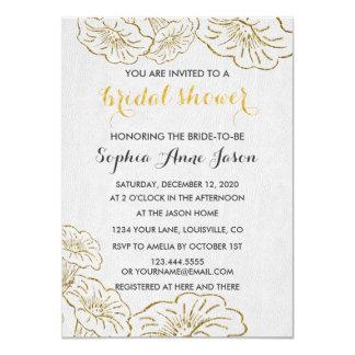 Elegant Floral Gold Foil Bridal Shower Invitation
