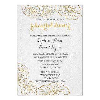 Elegant Floral Gold Foil Rehearsal Dinner Invite