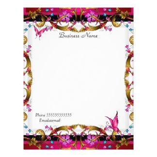 Elegant Floral Gold Pink Black Butterfly 21.5 Cm X 28 Cm Flyer