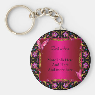 Elegant Floral Gold Pink Black Butterfly Basic Round Button Key Ring