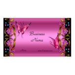 Elegant Floral Gold Pink Black Butterfly Pack Of Standard Business Cards
