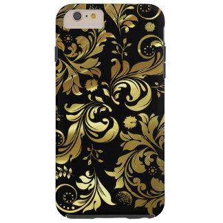 Elegant Floral Gold Swirls On Black Tough iPhone 6 Plus Case