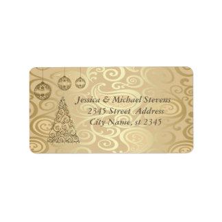 Elegant floral gold trendy holiday Christmas tree Address Label