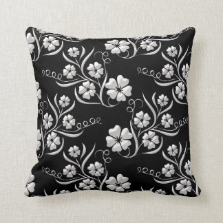 Elegant Floral in Black and White Cushion