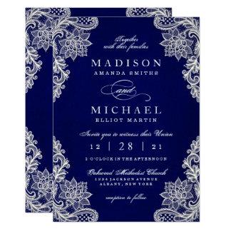 Elegant Floral Lace Modern Wedding Invitation