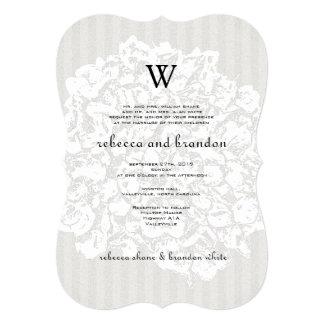 Elegant Floral Lace Neutral Wedding Invitation