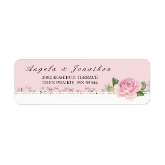 Elegant Floral Lace Pale Pink Wedding Return Address Label
