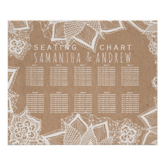 Elegant floral lace rustic faux kraft seating plan poster