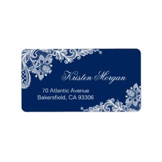 Elegant Floral Lace Stylish Navy Blue White Address Label