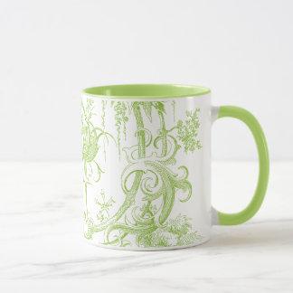 Elegant Floral, Leaf Green and Aqua Mug