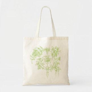Elegant Floral, Leaf Green and Aqua Bag