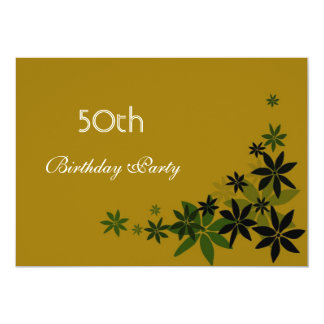 "Elegant floral leaves adult birthday party 5"" x 7"" invitation card"