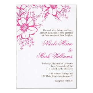 Elegant Floral Letterpress Wedding Card