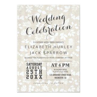 Elegant Floral Linen Texture Wedding Celebration 13 Cm X 18 Cm Invitation Card