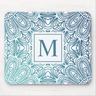 Elegant  Floral Mandala Monogram   Mousepad