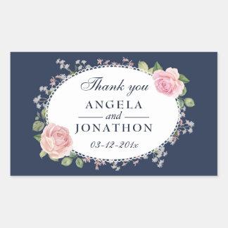 Elegant Floral Midnight Blue Wedding Thank You Rectangular Sticker