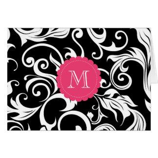 Elegant Floral Monogram Note Card Black White Pink