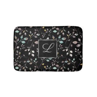 Elegant Floral Monogram Pattern Bath Mat