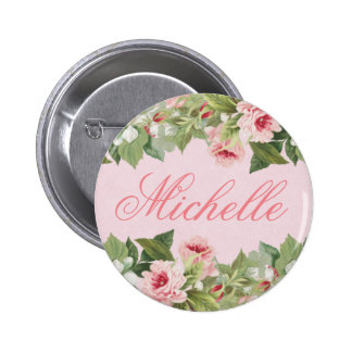Elegant floral name button in pink w/ flower