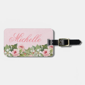 Elegant floral name luggage tag w/ flowers