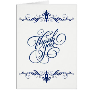 Elegant Floral Navy-Blue Lace Thank You Card
