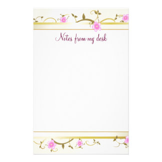 Elegant Floral Note Paper Personalized Stationery