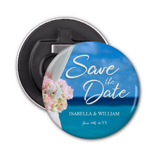 Elegant Floral Ocean Beach Summer Save the Date Bottle Opener