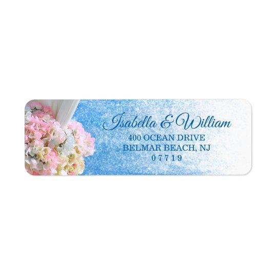 Elegant Floral Ocean Beach Summer Wedding Address Return Address Label