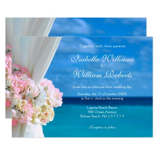 Elegant Floral Ocean Beach Summer Wedding Card