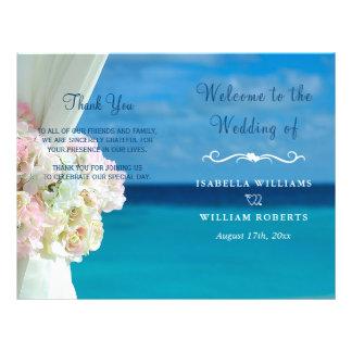 Elegant Floral Ocean Beach Summer Wedding Program Flyer