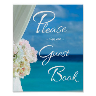 Elegant Floral Ocean Beach Summer Wedding Sign