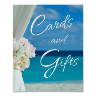 Elegant Floral Ocean Beach Summer Wedding Sign Poster