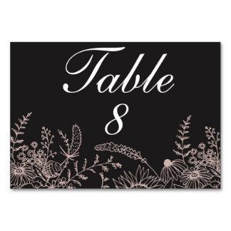 Elegant Floral On Black Wedding Table Number Table Cards