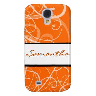 Elegant floral orange black swirls samsung galaxy s4 cases