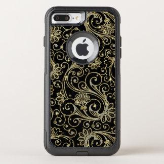 Elegant Floral Pattern In Gold & White Glitter OtterBox Commuter iPhone 8 Plus/7 Plus Case