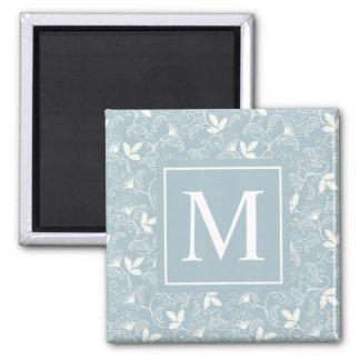 Elegant Floral Pattern Monogram | Magnet